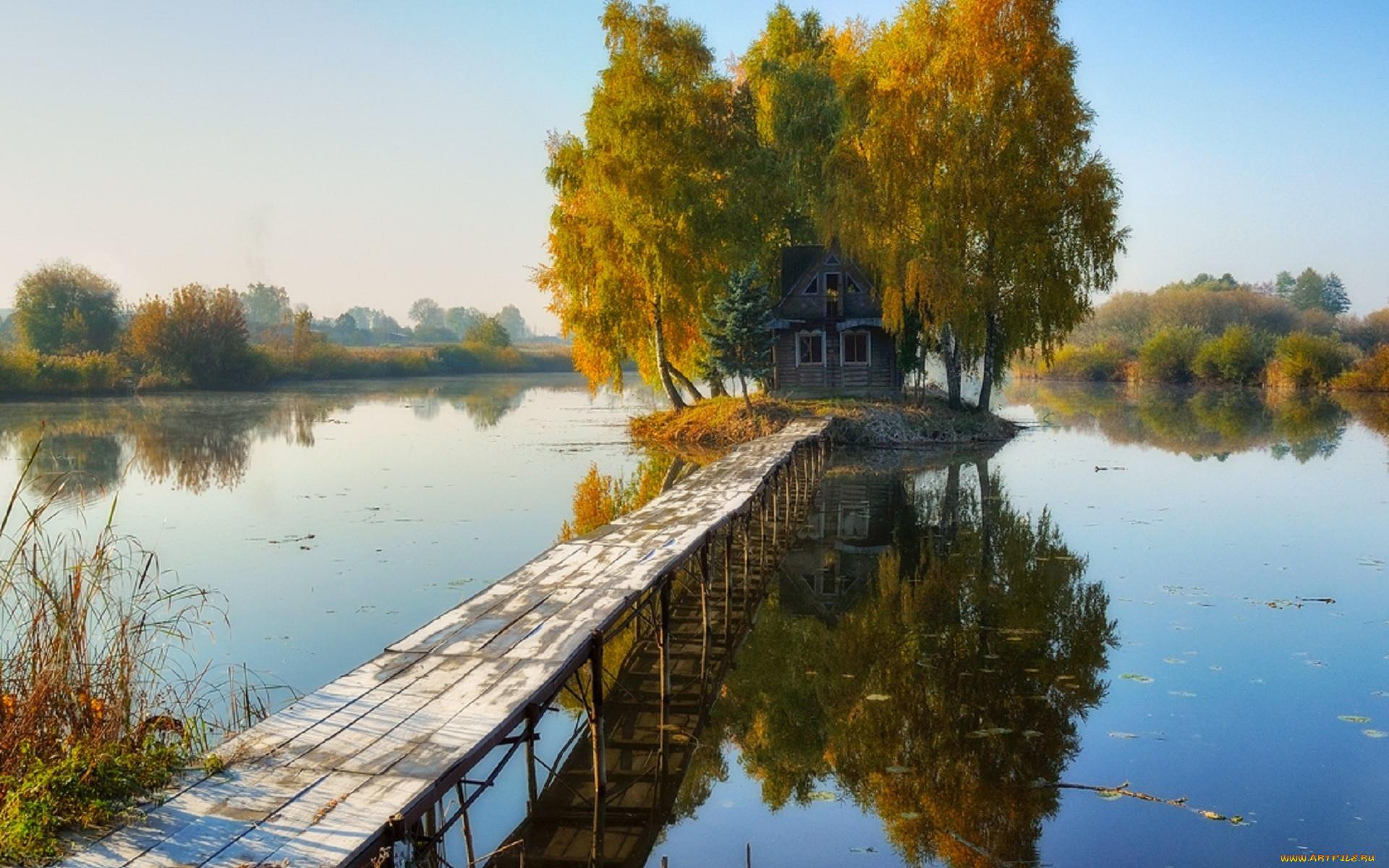 природа, реки, озера, осень, река, мостки, хижина